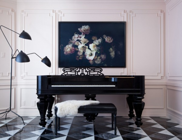 citizen-atelier-piano-room-room-designed-and-styled-by-christine-dovey-and-photographed-by-ashley-capp-Serge Mouille floor lamp floral art stool black white tile floor