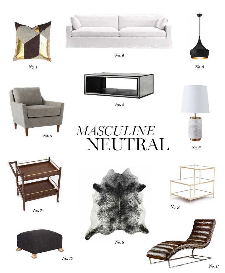 Masculine neutral living room erika brechtel for Neutral palette living room