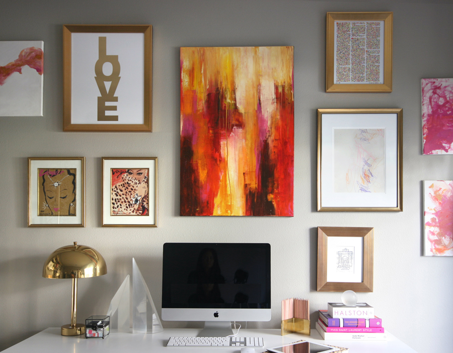 Erika Brechtel office gallery wall version 1 pink gold abstract art MadeByGirl LOVE kids art travel sketches