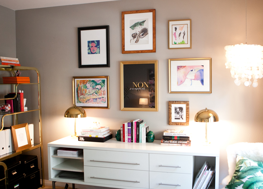 Erika Brechtel office gallery wall version 2 Bohemian Mod Warhol Brigitte Bardot Matisse Julie Christie kids art Martinique pillow capiz pendant pic by Jen Daigle