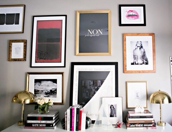 Erika Brechtel office gallery wall version 3 Femme Modern Kate Moss Rothko Aestate Oui Lips Ellsworth Kelly travel sketches pic by Melissa Vossler