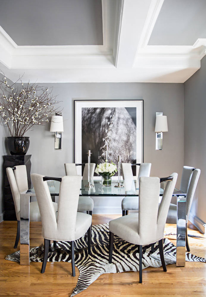 Ryan Korban NYC apt dining room gray silver chrome zebra rug horse ...