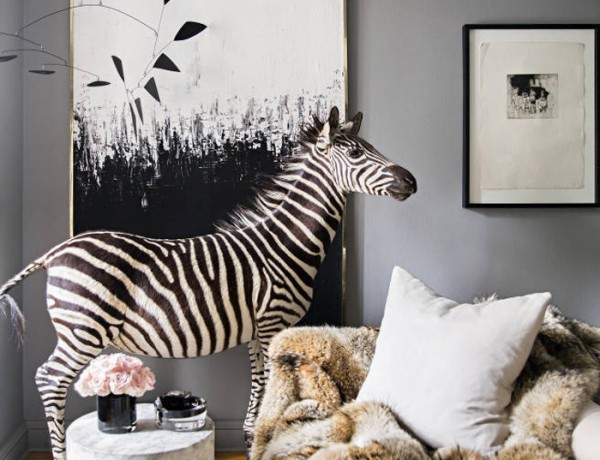 Ryan Korban NYC apt gray white black fur zebra marble Calder