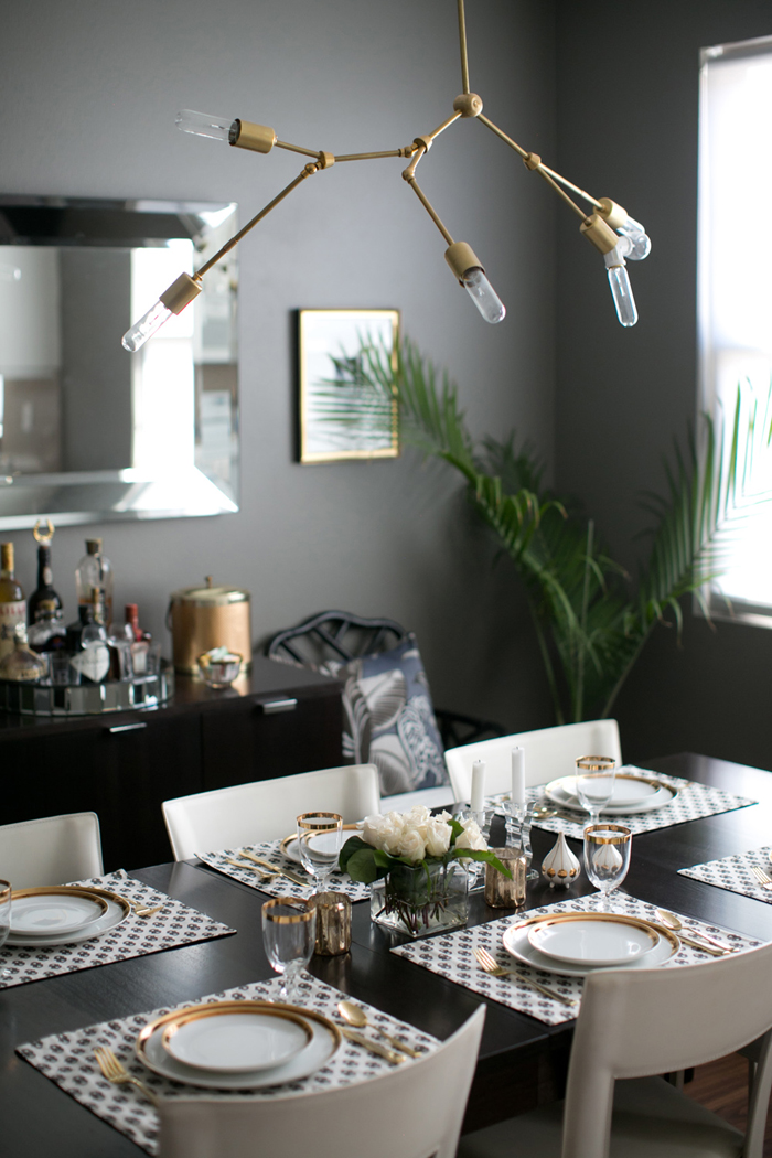 Erika Brechtel home dining room brass chandelier DIY photo by Bryce Covey