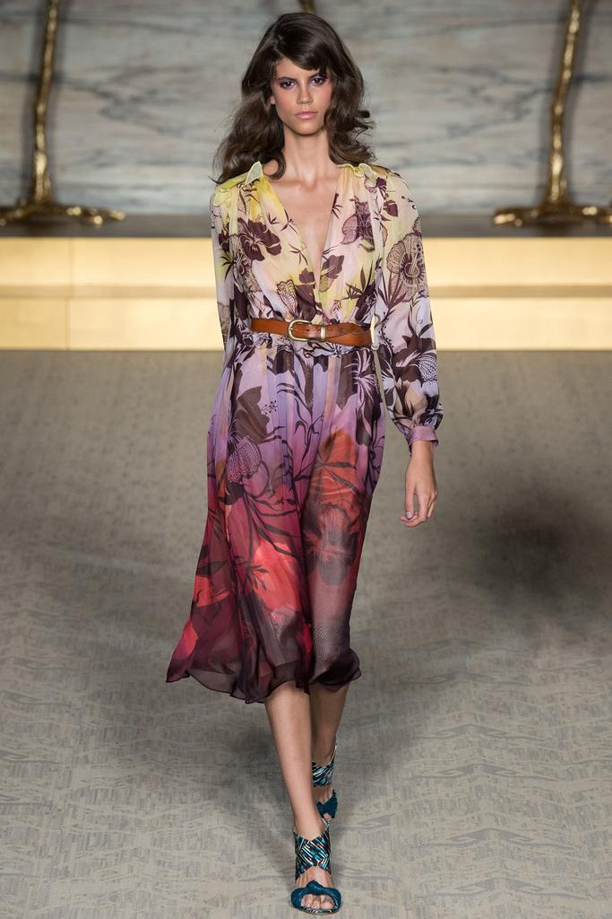 Matthew Williamson LFW Spirng 2015 floral ombre dress