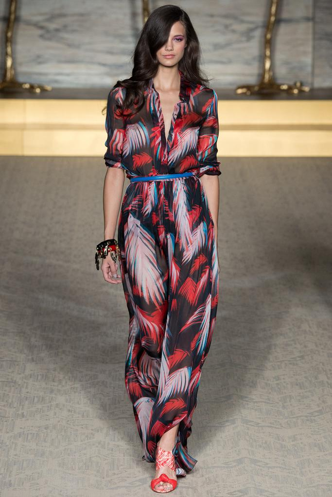 Matthew Williamson LFW Spirng 2015 tropical black red blue dress