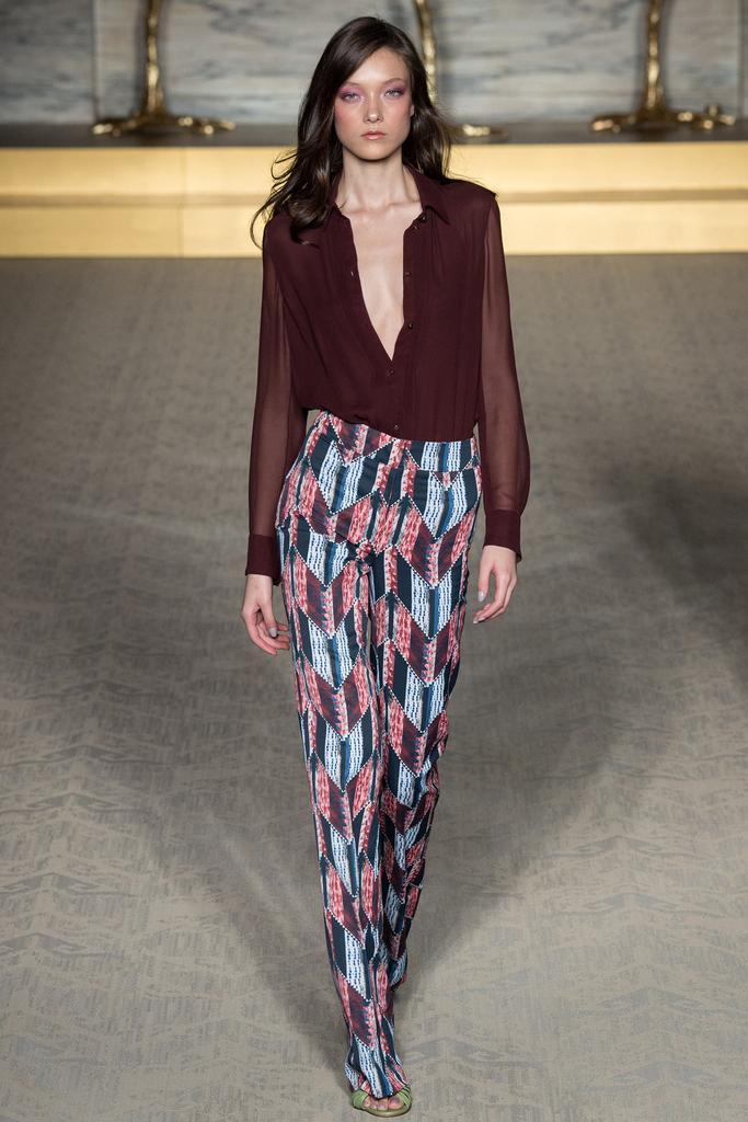 Matthew Williamson LFW Spring 2015 burgundy blouse patchwork pants