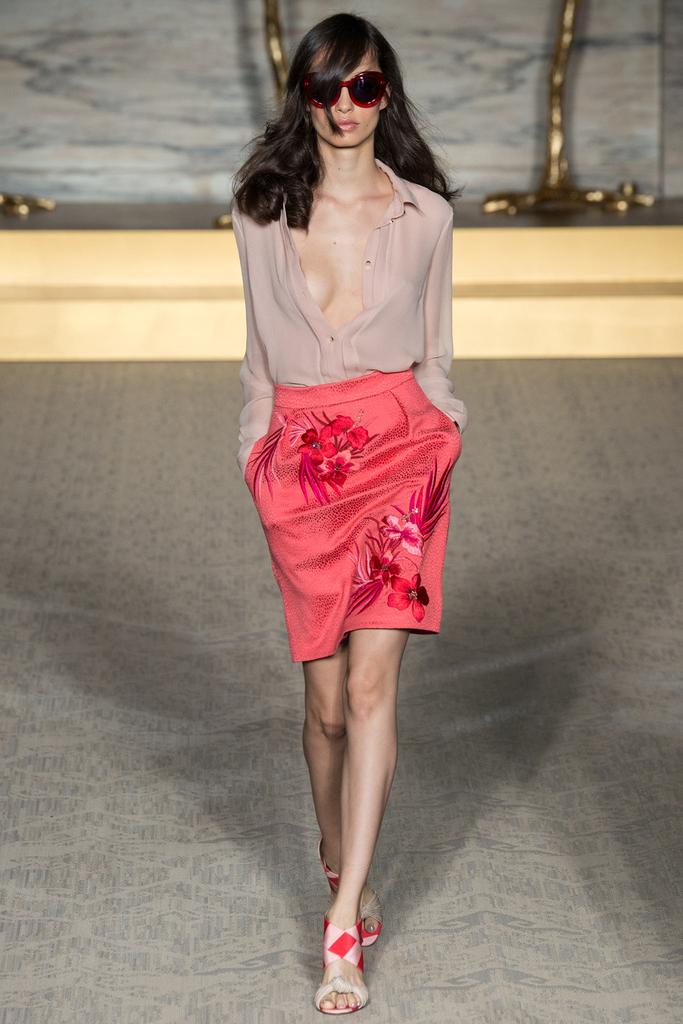 Matthew Williamson LFW Spring 2015 nude blouse coral silk skirt