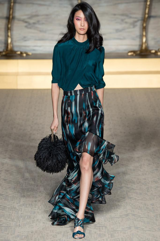Matthew Williamson LFW Spring 2015 teal blouse dark ikat flowy skirt