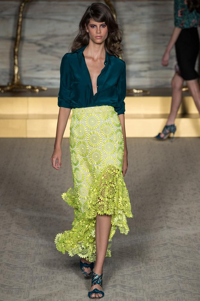 Matthew Williamson LFW Spring 2015 teal blouse neon yellow floral skirt