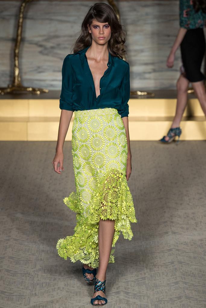 Matthew Williamson LFW Spring 2015 teal blouse neon yellow floral skirt