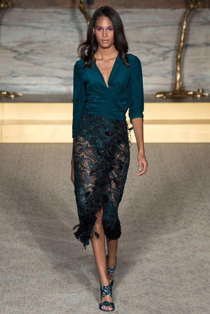 Matthew Williamson LFW Spring 2015 teal bodysuit sheer embroidered wrap