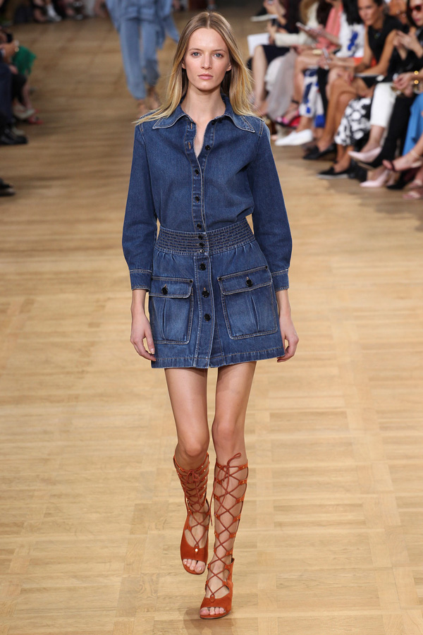 chloe ss15 denim shirt dress