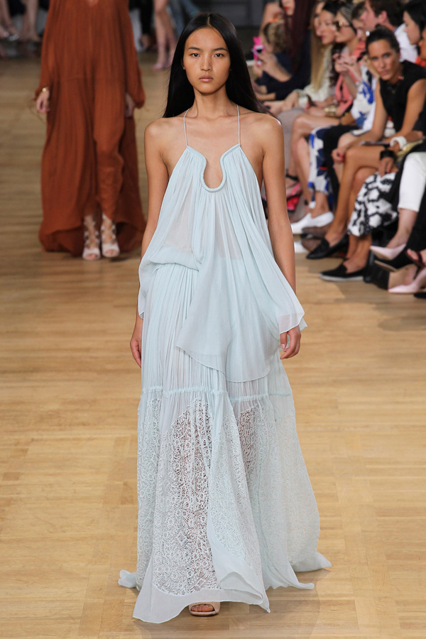 chloe ss15 light mint green gauze trapeze lace detail dress