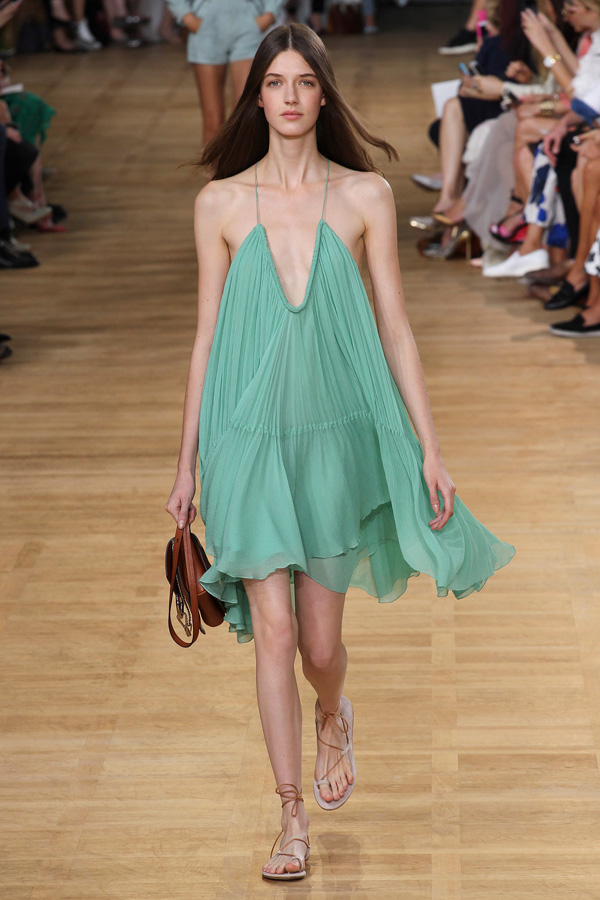 chloe ss15 mint green gauze trapeze dress