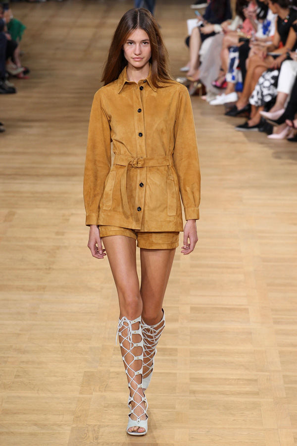 chloe ss15 mustard sueded belted blouse shorts