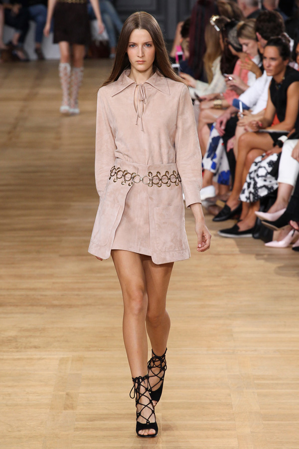 chloe ss15 nude sueded metalwork dress