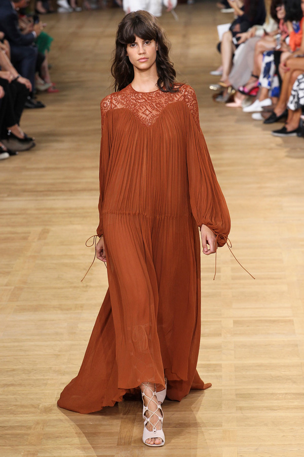 chloe ss15 peasant style gauze long dress