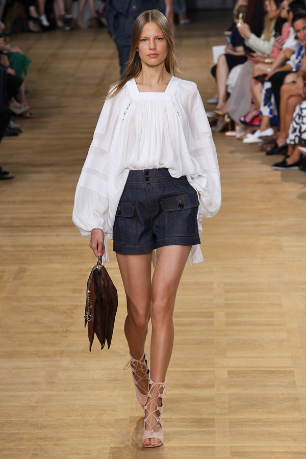 chloe ss15 white blouson denim shorts