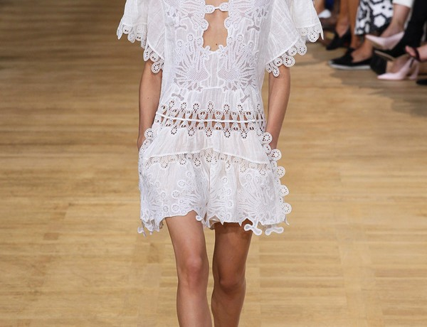 chloe ss15 white embroidered tunic strap dress