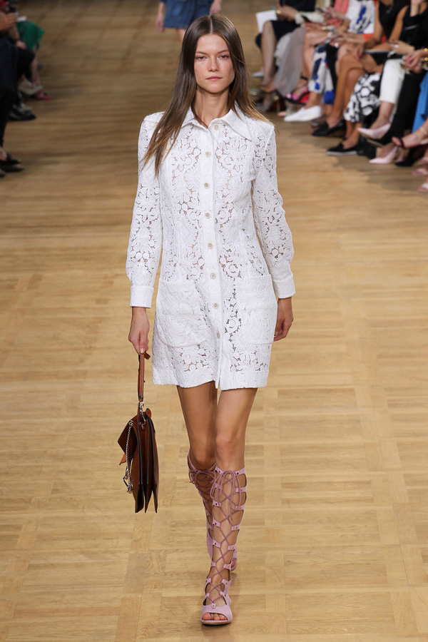 chloe ss15 white lace shirtdress
