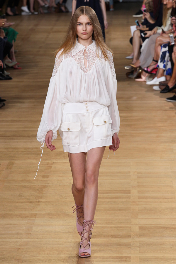 chloe ss15 white peasant blouse skirt