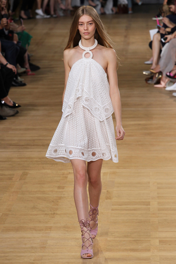 chloe ss15 white ring halter eyelet dress