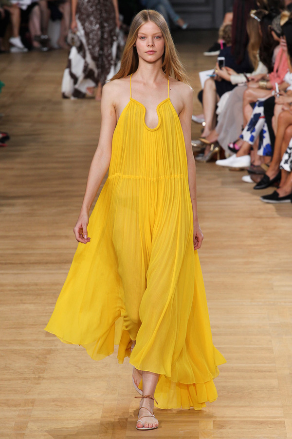 chloe ss15 yellow gauze long trapeze dress