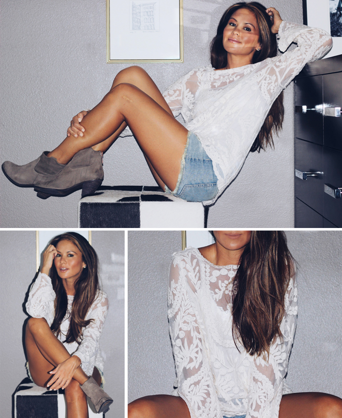 first of fall outfit lace tunic denim cutoffs ankle booties Erika Brechtel