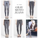 THE TREND Gray Moto Jeans