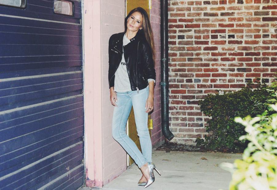 Erika Brechtel tough femme outfit AllSaints leather jacket Wildfox tee Jolt lightwash jeans Schutz silver snakeskin heels