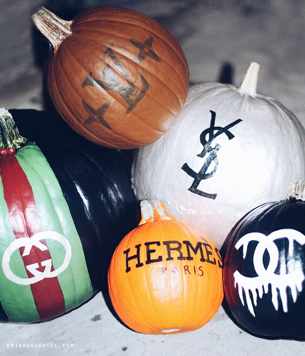 Halloween no carve painted pumpkins designer logos by Erika Brechtel