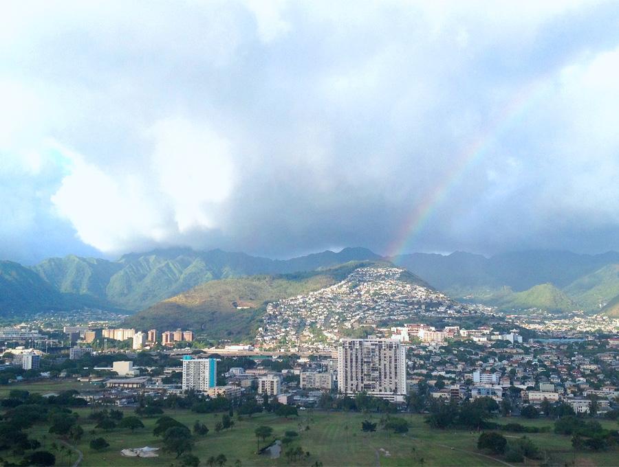 Hawaii fall getaway Erika Brechtel Honolulu view rainbow