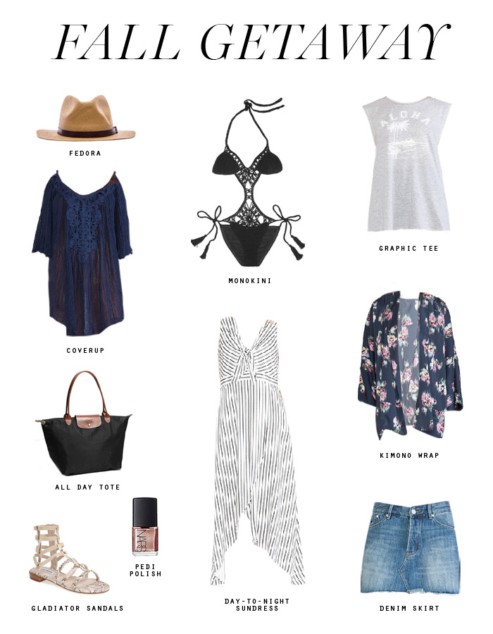 fall getaway packing list transitional tropical wear Erika Brechtel navy rose gold black