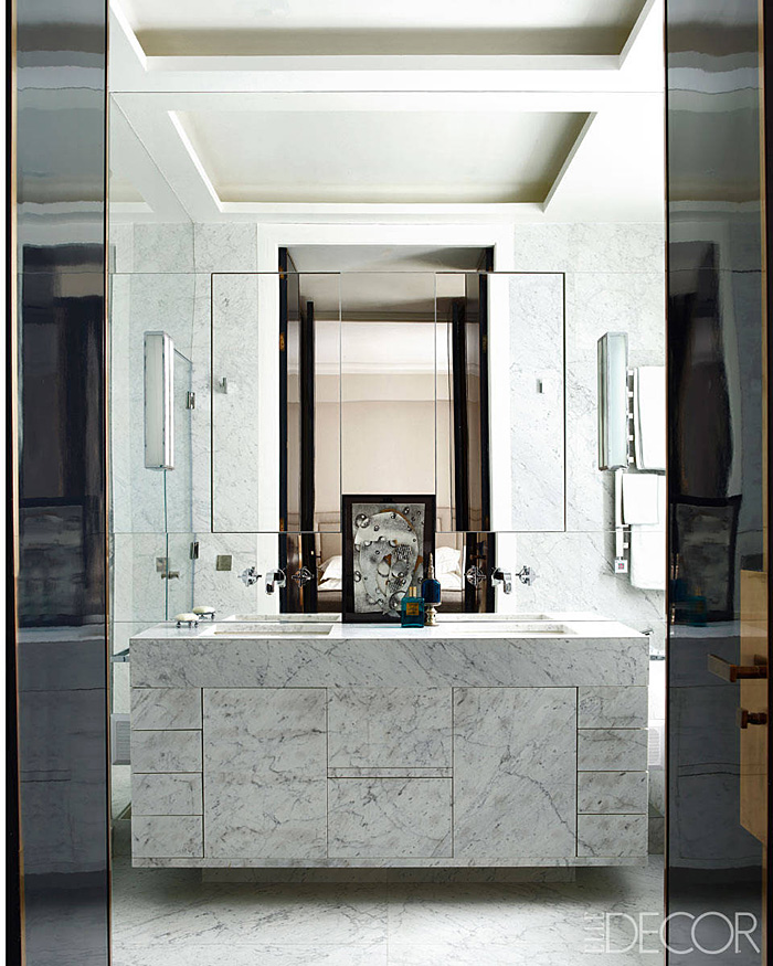 Parisian Apt by Champeau Wilde bathroom mirrored white marble