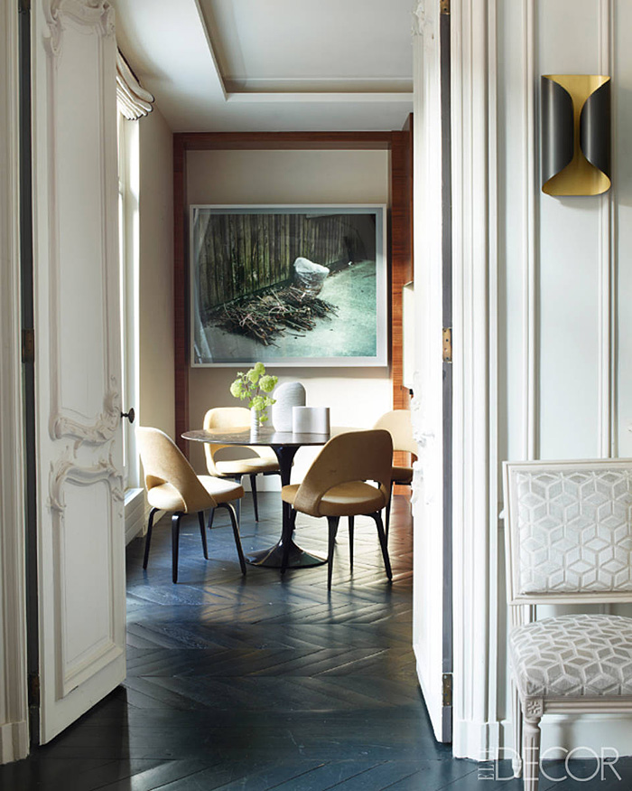 Parisian Apt by Champeau Wilde kitchen knoll midcentury chairs Jeff Wall photograph