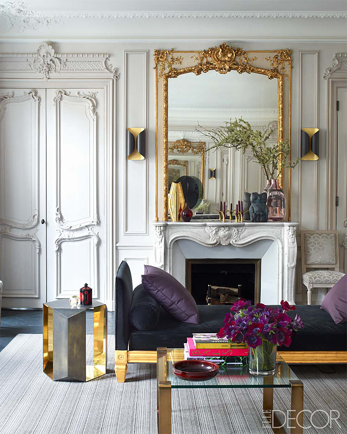 Parisian Apt by Champeau Wilde living room living room gilded mirror brass Lucite Donghia side table velvet couch