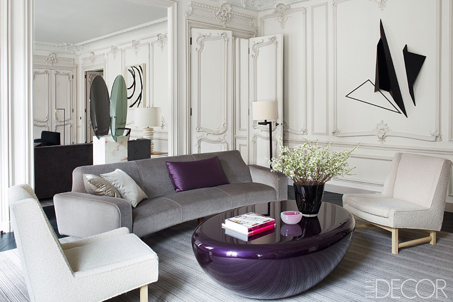 Parisian Apt by Champeau Wilde living room white gray violet Mattia Bonetti table 1970s chairs Katja Strunz sculpture