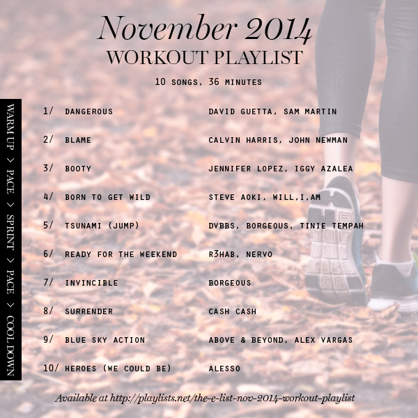 workout playlist November 2014 Erika Brechtel