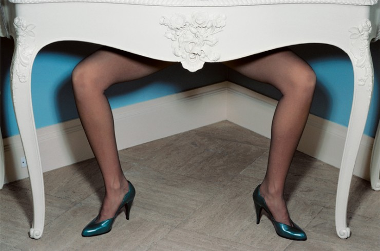 Guy Bourdin fashion photography Charles Jourdan ad blue shoes table