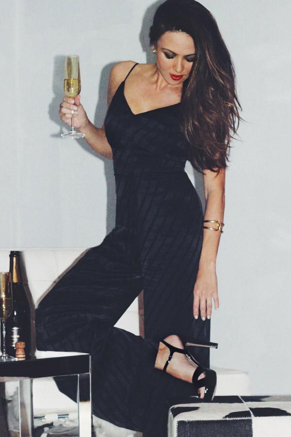 NYE 3 looks Erika Brechtel black jumpsuit