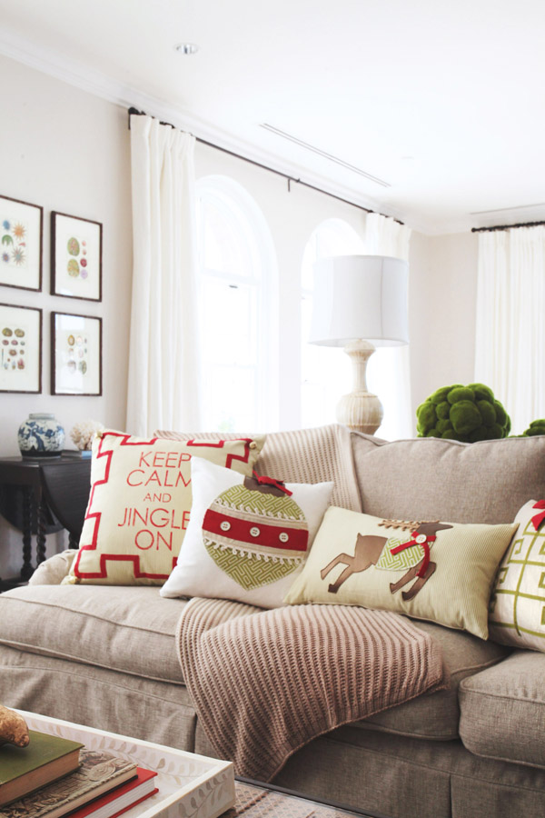 Ones Nest holiday collection red green accent pillows