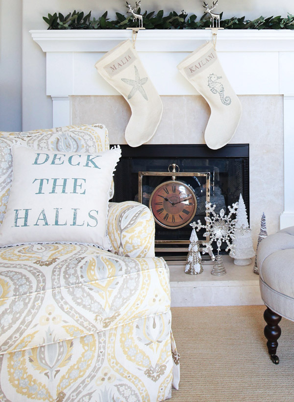 Ones Nest holiday seashell collection stockings accent pillow