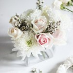 DIY winter white floral arrangement by Erika Brechtel