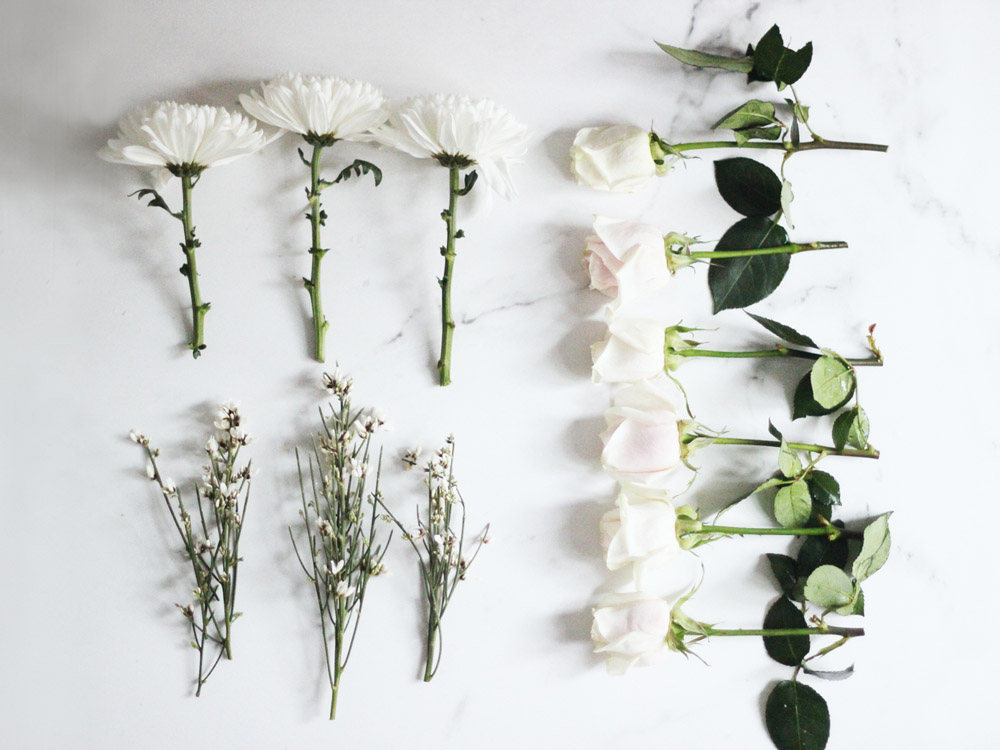 DIY winter white floral arrangement by Erika Brechtel step 1