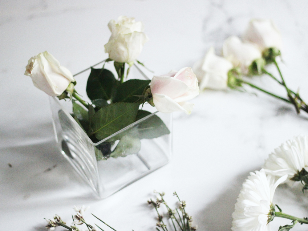DIY winter white floral arrangement by Erika Brechtel step 2