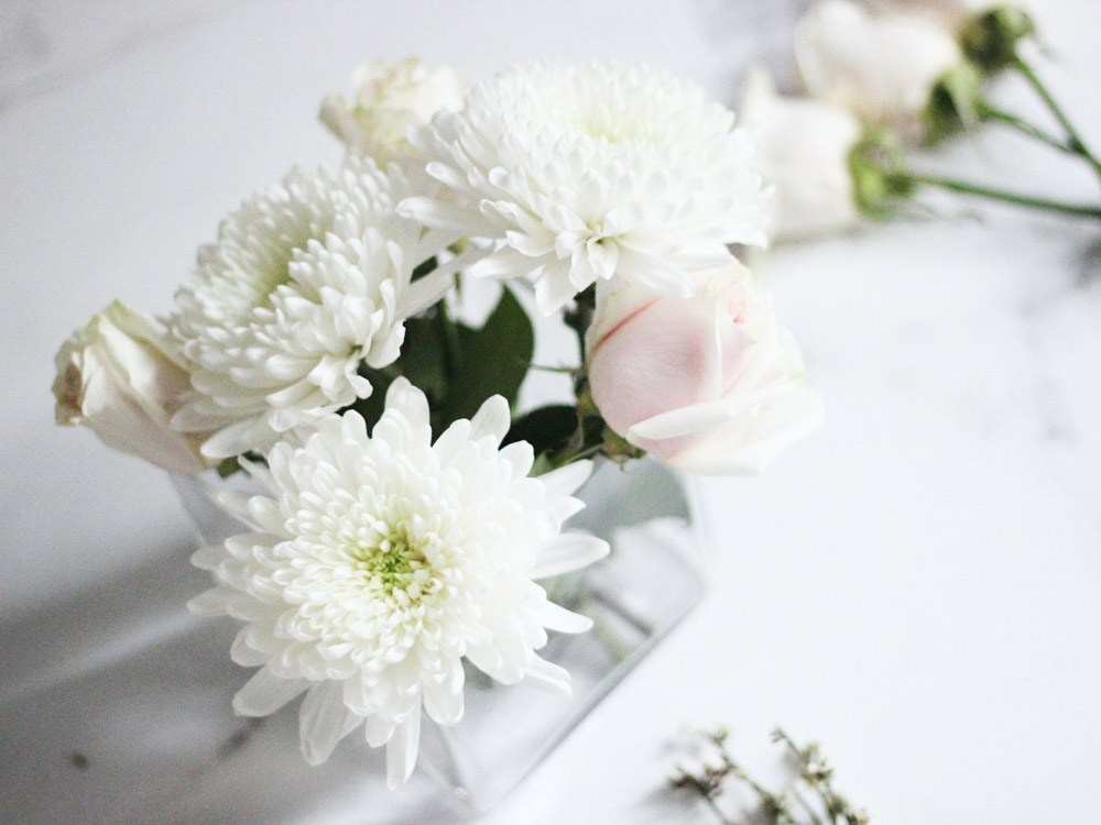 DIY winter white floral arrangement by Erika Brechtel step 3