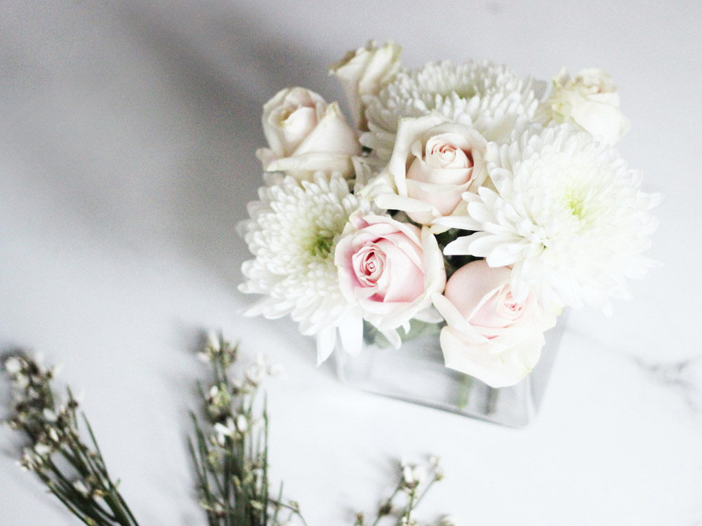 DIY winter white floral arrangement by Erika Brechtel step 4