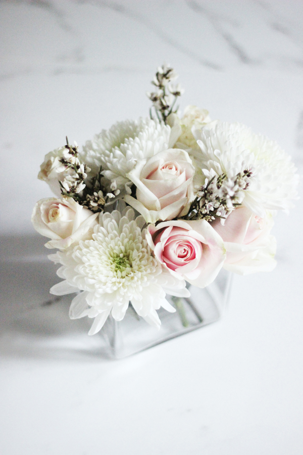 DIY winter white floral arrangement by Erika Brechtel step 5