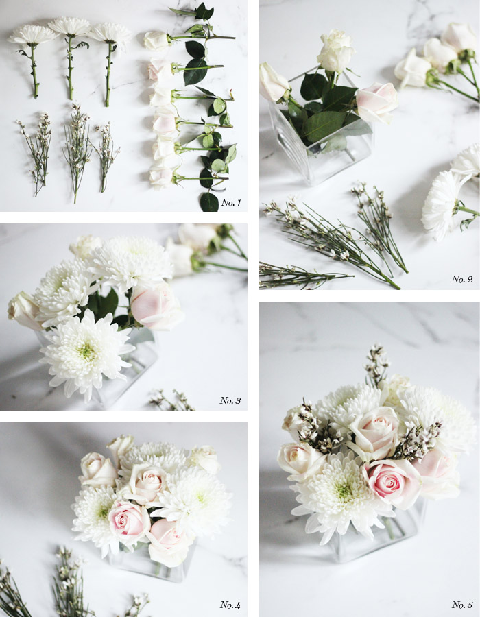 DIY winter white floral arrangement by Erika Brechtel steps